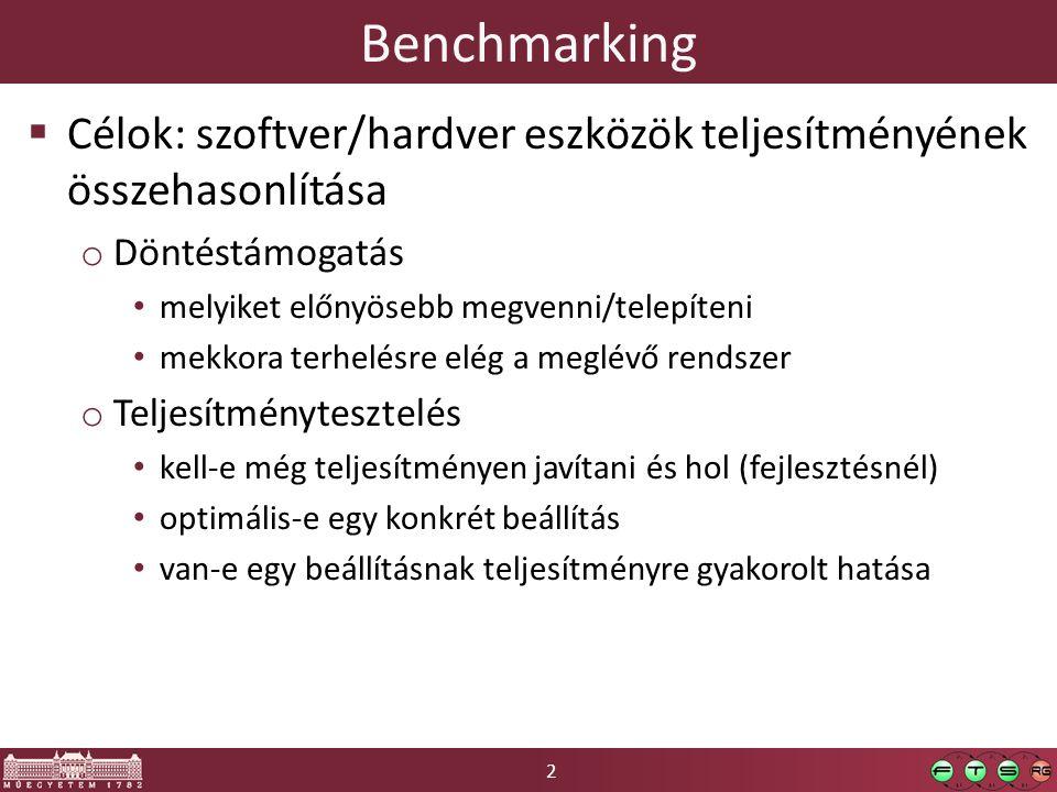 2 Benchmarking  Célok: szoftver/hardver eszközök teljesítményének összehasonlítása o Döntéstámogatás melyiket előnyösebb megvenni/telepíteni mekkora terhelésre elég a meglévő rendszer o Teljesítménytesztelés kell-e még teljesítményen javítani és hol (fejlesztésnél) optimális-e egy konkrét beállítás van-e egy beállításnak teljesítményre gyakorolt hatása