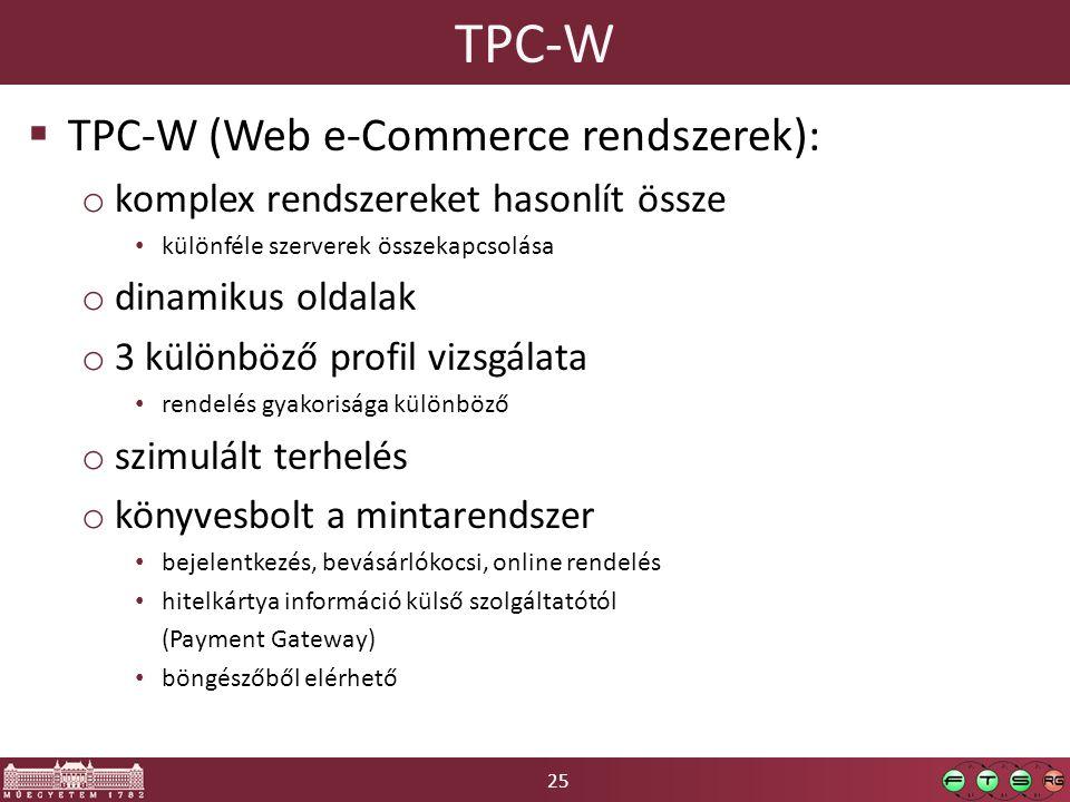 25 TPC-W  TPC-W (Web e-Commerce rendszerek): o komplex rendszereket hasonlít össze különféle szerverek összekapcsolása o dinamikus oldalak o 3 különböző profil vizsgálata rendelés gyakorisága különböző o szimulált terhelés o könyvesbolt a mintarendszer bejelentkezés, bevásárlókocsi, online rendelés hitelkártya információ külső szolgáltatótól (Payment Gateway) böngészőből elérhető