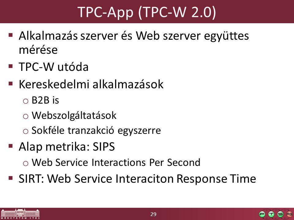 29 TPC-App (TPC-W 2.0)  Alkalmazás szerver és Web szerver együttes mérése  TPC-W utóda  Kereskedelmi alkalmazások o B2B is o Webszolgáltatások o Sokféle tranzakció egyszerre  Alap metrika: SIPS o Web Service Interactions Per Second  SIRT: Web Service Interaciton Response Time