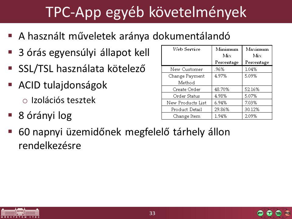 33 TPC-App egyéb követelmények  A használt műveletek aránya dokumentálandó  3 órás egyensúlyi állapot kell  SSL/TSL használata kötelező  ACID tulajdonságok o Izolációs tesztek  8 órányi log  60 napnyi üzemidőnek megfelelő tárhely állon rendelkezésre
