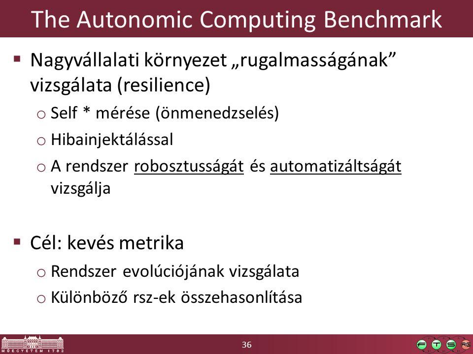 """36 The Autonomic Computing Benchmark  Nagyvállalati környezet """"rugalmasságának vizsgálata (resilience) o Self * mérése (önmenedzselés) o Hibainjektálással o A rendszer robosztusságát és automatizáltságát vizsgálja  Cél: kevés metrika o Rendszer evolúciójának vizsgálata o Különböző rsz-ek összehasonlítása"""
