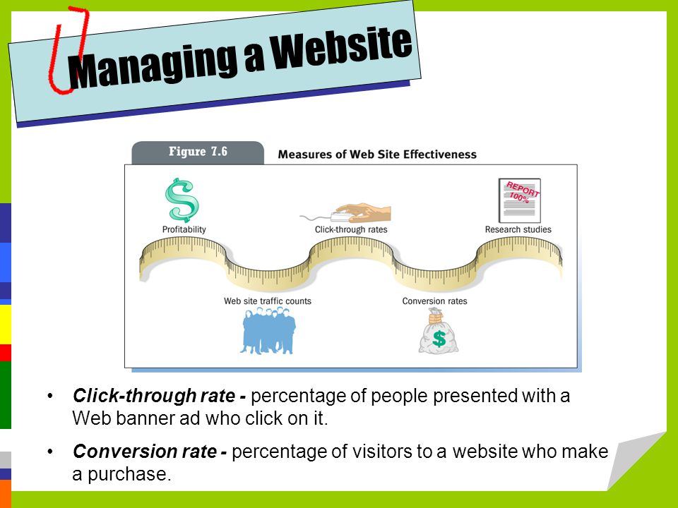 Click-through rate - percentage of people presented with a Web banner ad who click on it.