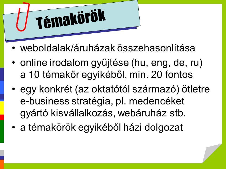 Témakörök weboldalak/áruházak összehasonlítása online irodalom gyűjtése (hu, eng, de, ru) a 10 témakör egyikéből, min. 20 fontos egy konkrét (az oktat