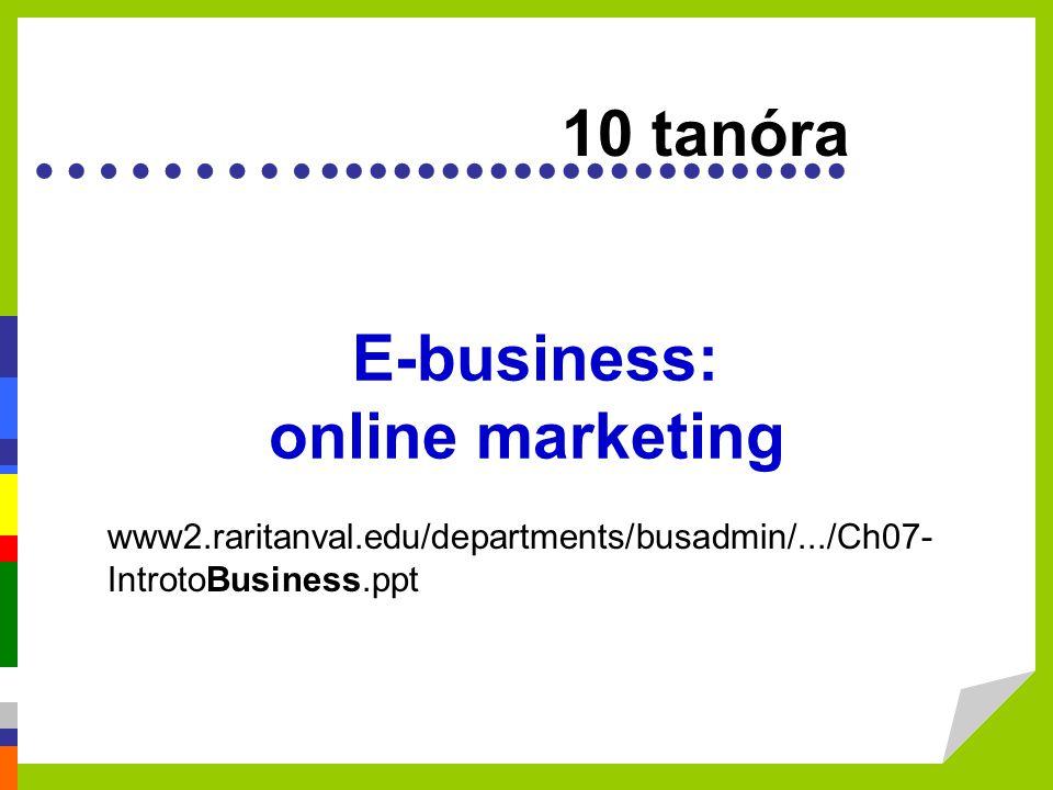 ………...................... E-business: online marketing 10 tanóra www2.raritanval.edu/departments/busadmin/.../Ch07- IntrotoBusiness.ppt