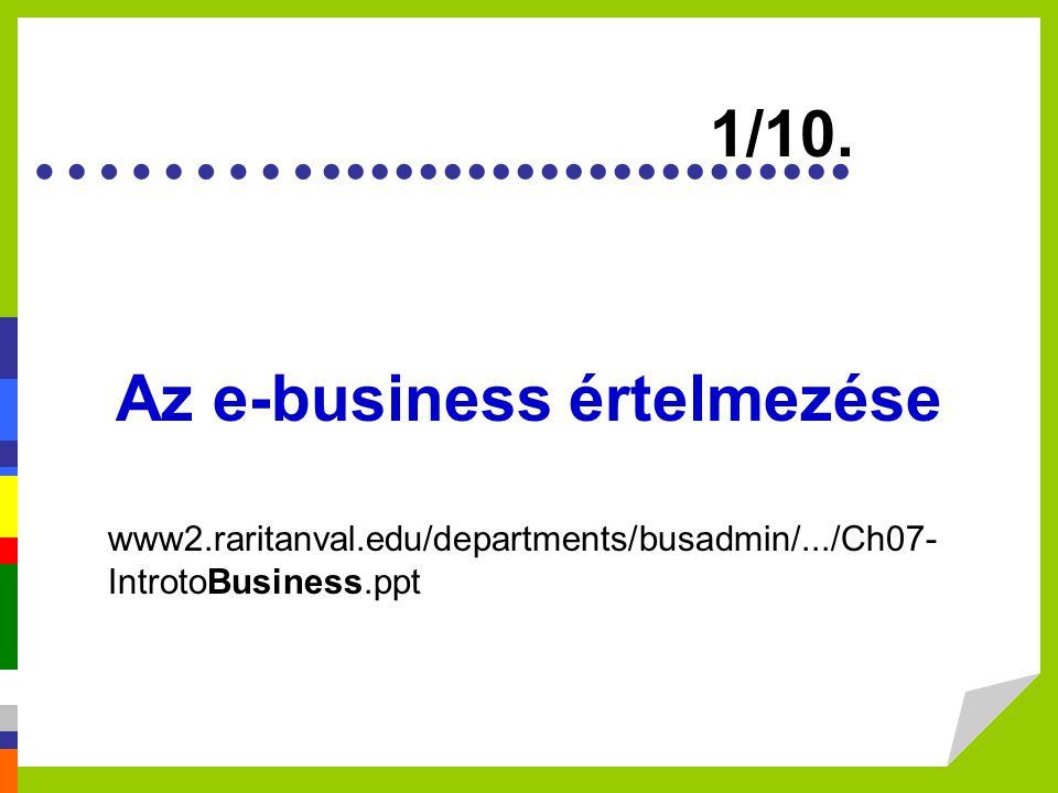 Értelmezése (E-commerce) Trendek E-business tényezők Felépítés E-beszerzés 1 Mi az e-business.