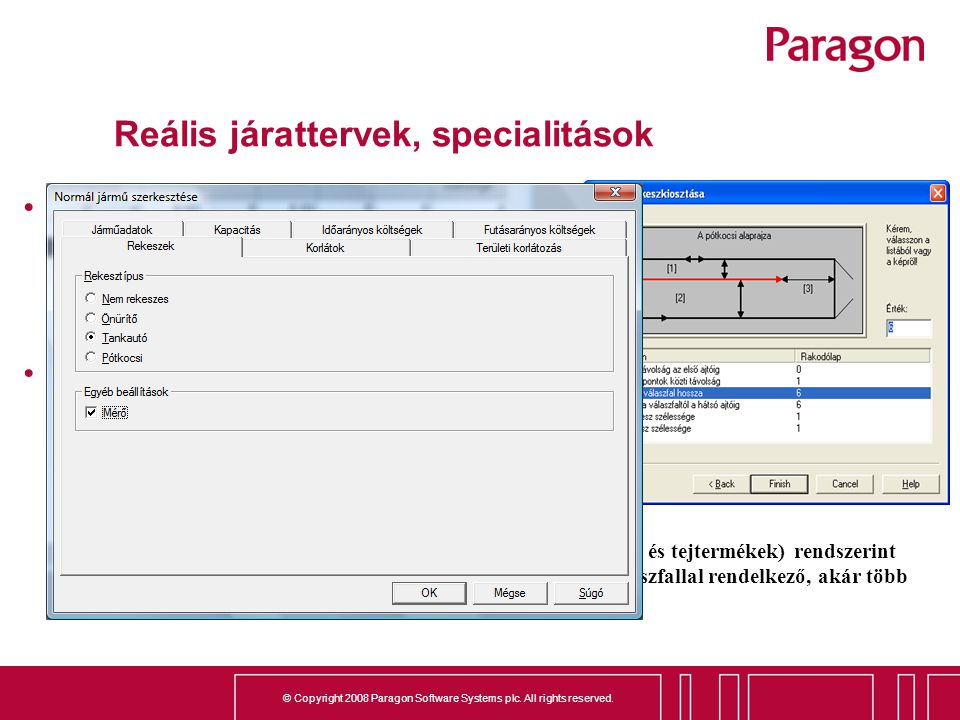 © Copyright 2008 Paragon Software Systems plc. All rights reserved. Reális járattervek, specialitások A járattervező rendszerek többnyire feltételezik
