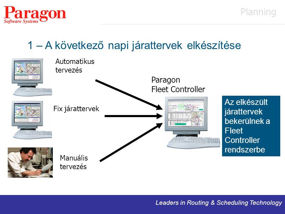 Leaders in Routing & Scheduling Technology 1 – A következő napi járattervek elkészítése Automatikus tervezés Manuális tervezés Paragon Fleet Controller Fix járattervek Az elkészült járattervek bekerülnek a Fleet Controller rendszerbe Planning