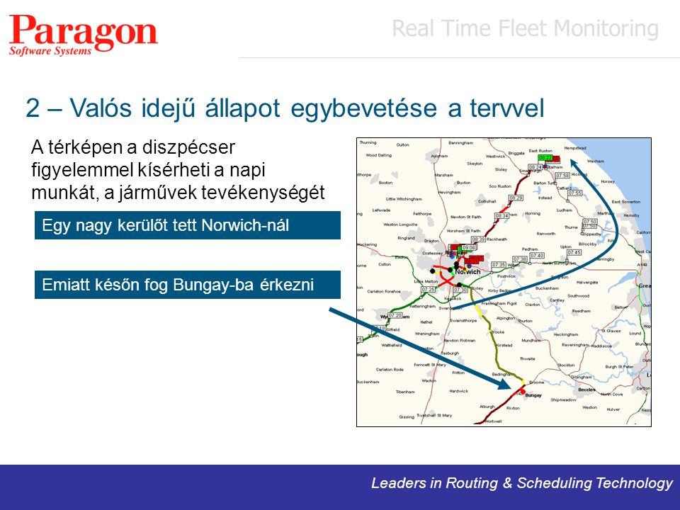 Leaders in Routing & Scheduling Technology 2 – Valós idejű állapot egybevetése a tervvel A térképen a diszpécser figyelemmel kísérheti a napi munkát, a járművek tevékenységét Egy nagy kerülőt tett Norwich-nál Emiatt későn fog Bungay-ba érkezni Real Time Fleet Monitoring