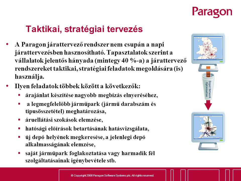 © Copyright 2008 Paragon Software Systems plc. All rights reserved. Taktikai, stratégiai tervezés A Paragon járattervező rendszer nem csupán a napi já