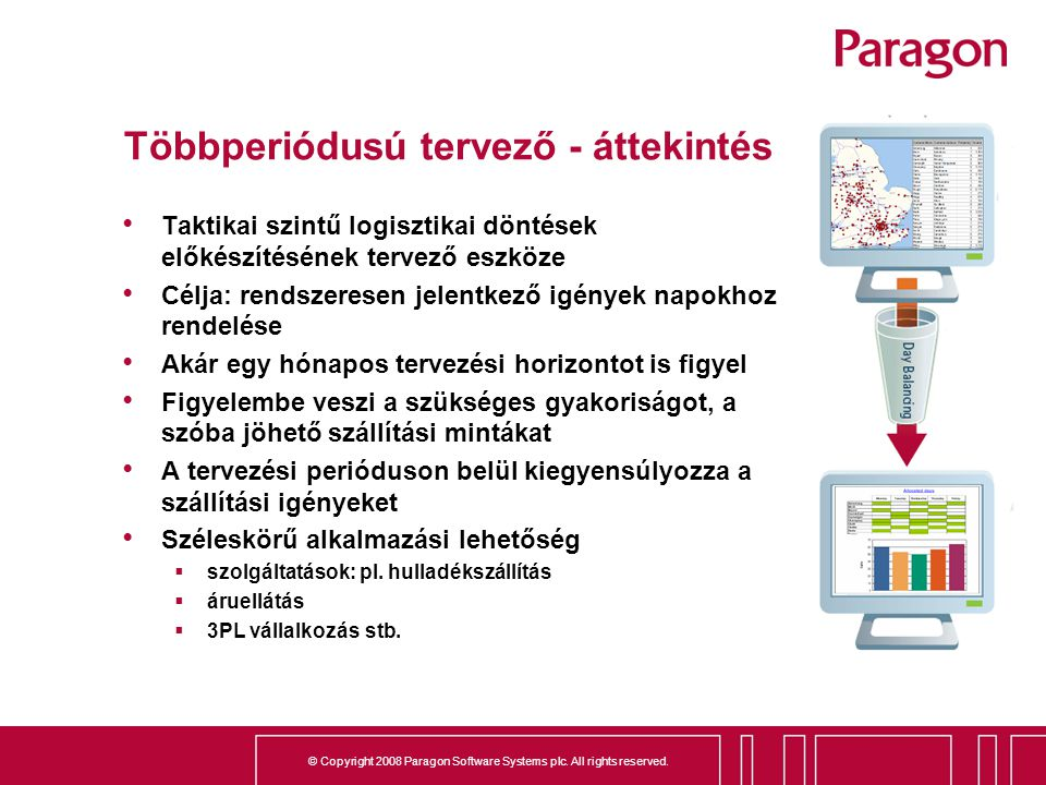 © Copyright 2008 Paragon Software Systems plc. All rights reserved. Többperiódusú tervező - áttekintés Taktikai szintű logisztikai döntések előkészíté