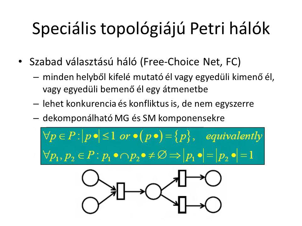 Speciális topológiájú Petri hálók Szabad választású háló (Free-Choice Net, FC) – minden helyből kifelé mutató él vagy egyedüli kimenő él, vagy egyedül