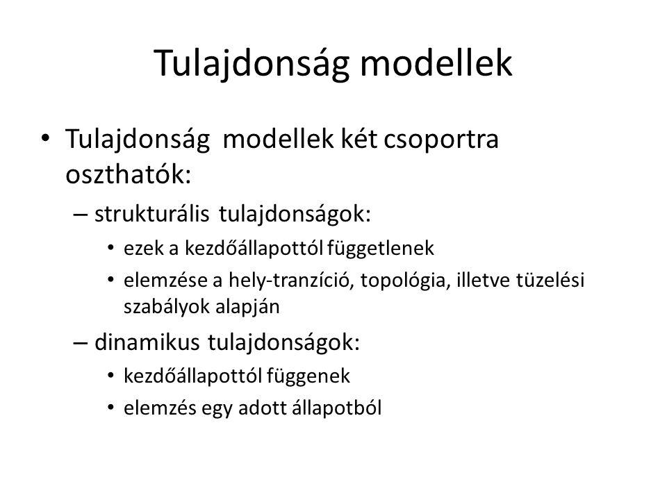 Tulajdonság modellek Tulajdonság modellek két csoportra oszthatók: – strukturális tulajdonságok: ezek a kezdőállapottól függetlenek elemzése a hely-tr