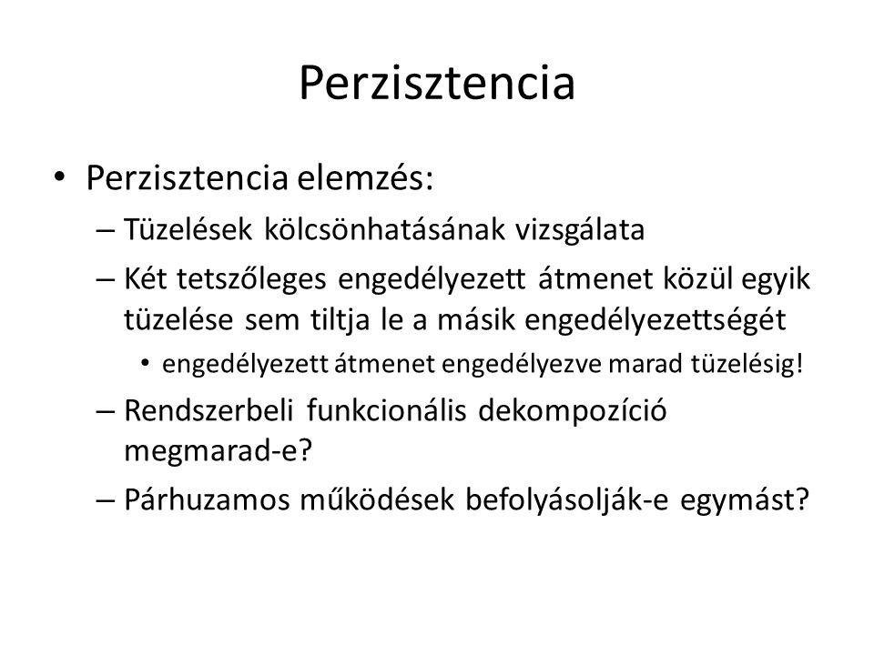Perzisztencia Perzisztencia elemzés: – Tüzelések kölcsönhatásának vizsgálata – Két tetszőleges engedélyezett átmenet közül egyik tüzelése sem tiltja l