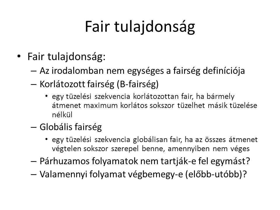 Fair tulajdonság Fair tulajdonság: – Az irodalomban nem egységes a fairség definíciója – Korlátozott fairség (B-fairség) egy tüzelési szekvencia korlá