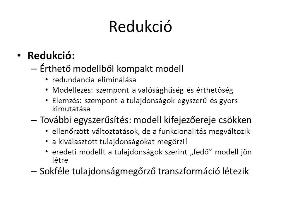 Redukció Redukció: – Érthető modellből kompakt modell redundancia eliminálása Modellezés: szempont a valósághűség és érthetőség Elemzés: szempont a tu