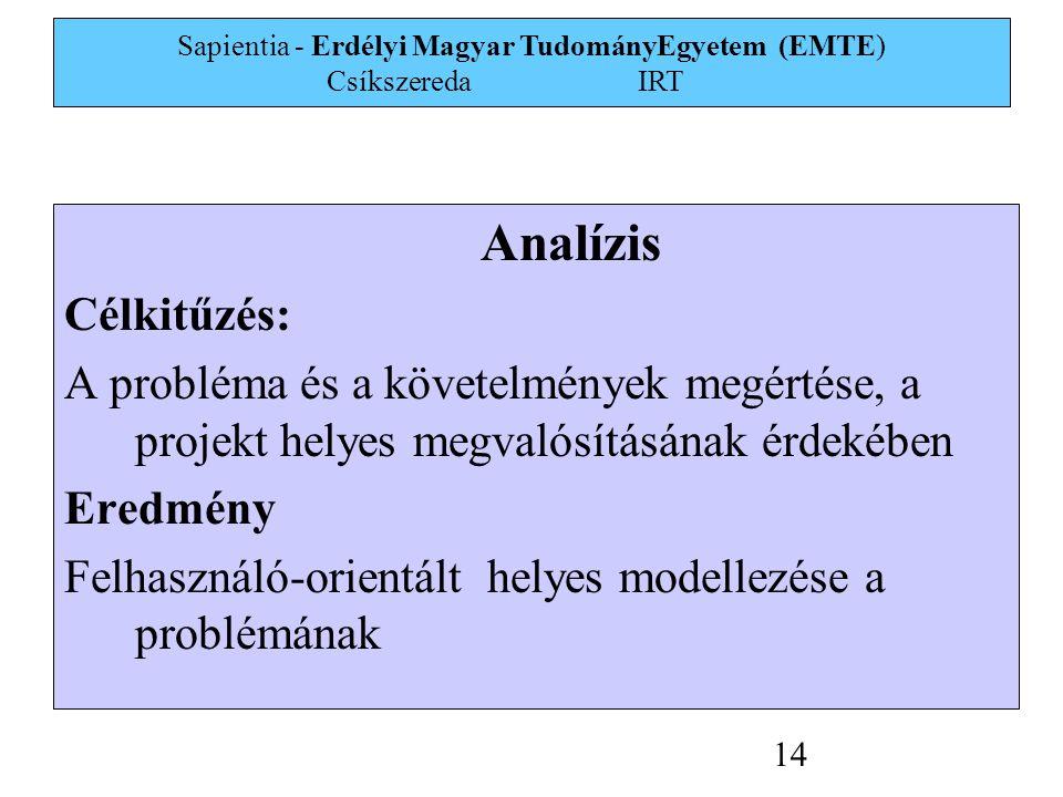 Sapientia - Erdélyi Magyar TudományEgyetem (EMTE) Csíkszereda IRT 14 Analízis Célkitűzés: A probléma és a követelmények megértése, a projekt helyes megvalósításának érdekében Eredmény Felhasználó-orientált helyes modellezése a problémának