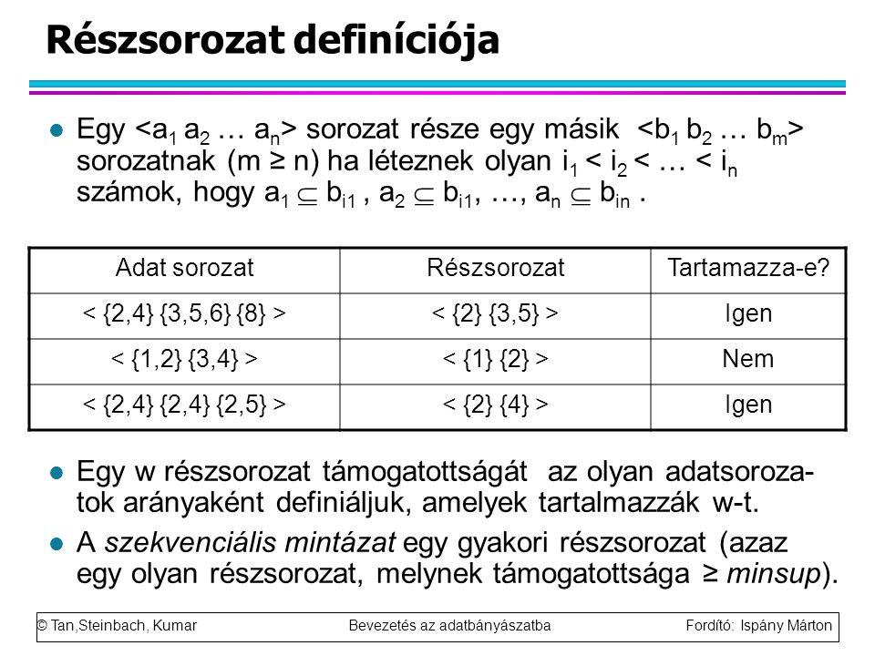 © Tan,Steinbach, Kumar Bevezetés az adatbányászatba Fordító: Ispány Márton Részsorozat definíciója l Egy sorozat része egy másik sorozatnak (m ≥ n) ha léteznek olyan i 1 < i 2 < … < i n számok, hogy a 1  b i1, a 2  b i1, …, a n  b in.