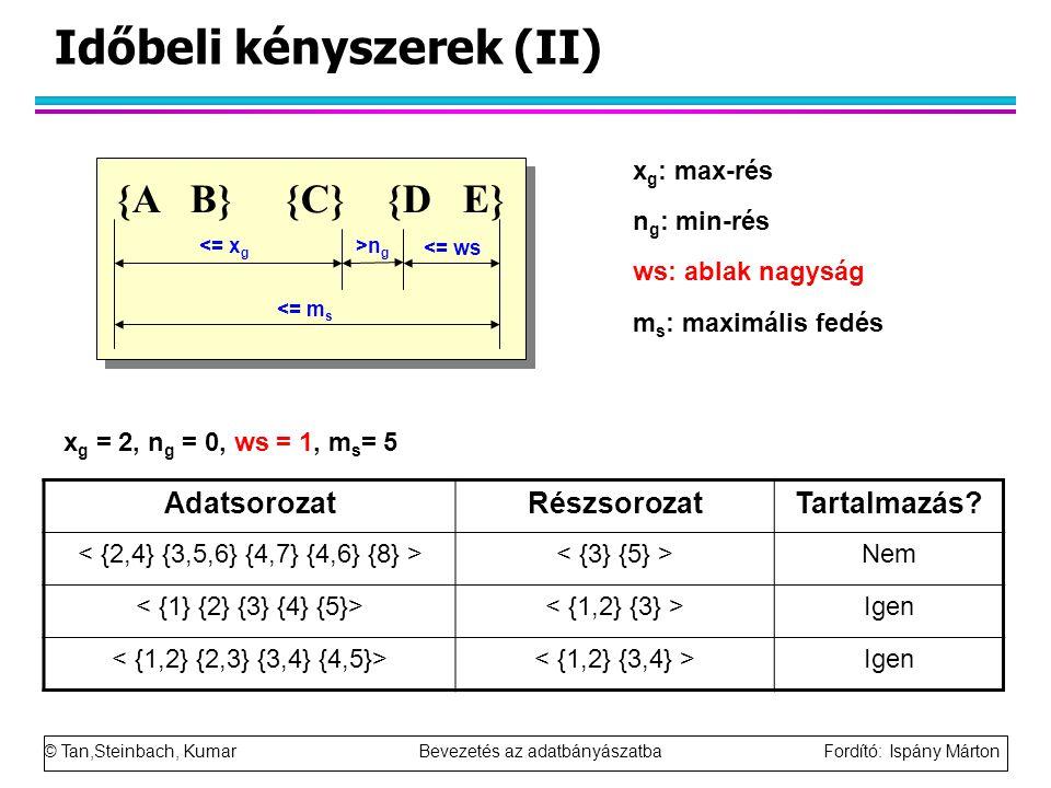 © Tan,Steinbach, Kumar Bevezetés az adatbányászatba Fordító: Ispány Márton Időbeli kényszerek (II) {A B} {C} {D E} <= m s <= x g >n g <= ws x g : max-rés n g : min-rés ws: ablak nagyság m s : maximális fedés AdatsorozatRészsorozatTartalmazás.