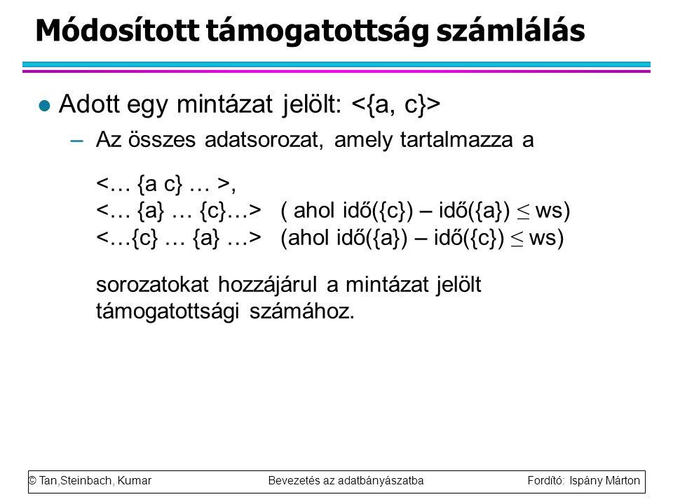 © Tan,Steinbach, Kumar Bevezetés az adatbányászatba Fordító: Ispány Márton Módosított támogatottság számlálás l Adott egy mintázat jelölt: –Az összes adatsorozat, amely tartalmazza a, ( ahol idő({c}) – idő({a}) ≤ ws) (ahol idő({a}) – idő({c}) ≤ ws) sorozatokat hozzájárul a mintázat jelölt támogatottsági számához.