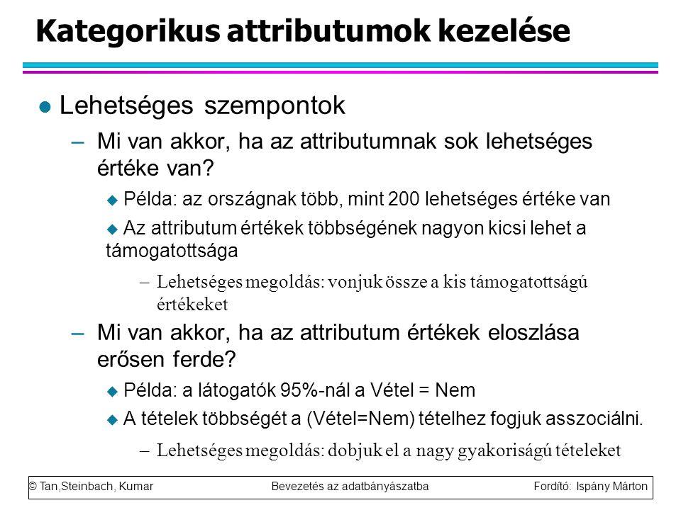 © Tan,Steinbach, Kumar Bevezetés az adatbányászatba Fordító: Ispány Márton Kategorikus attributumok kezelése l Lehetséges szempontok –Mi van akkor, ha az attributumnak sok lehetséges értéke van.
