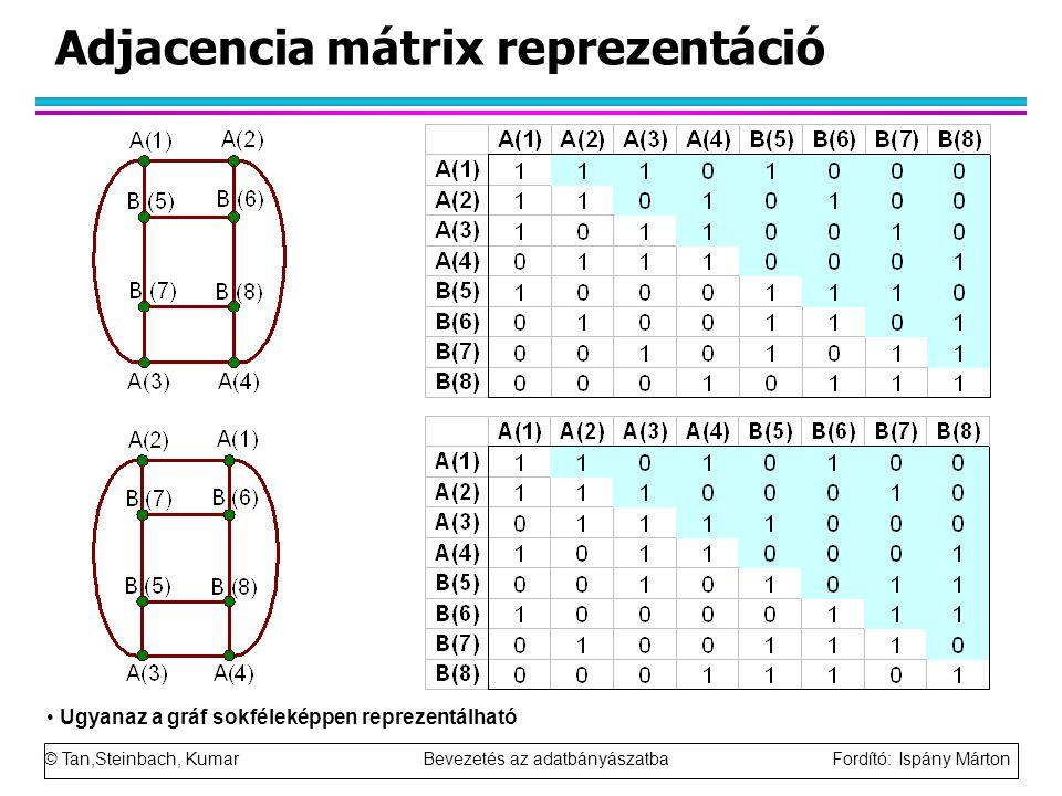 © Tan,Steinbach, Kumar Bevezetés az adatbányászatba Fordító: Ispány Márton Adjacencia mátrix reprezentáció Ugyanaz a gráf sokféleképpen reprezentálható