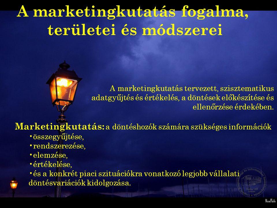 A marketingkutatás tervezett, szisztematikus adatgyűjtés és értékelés, a döntések előkészítése és ellenőrzése érdekében. Marketingkutatás: a döntéshoz