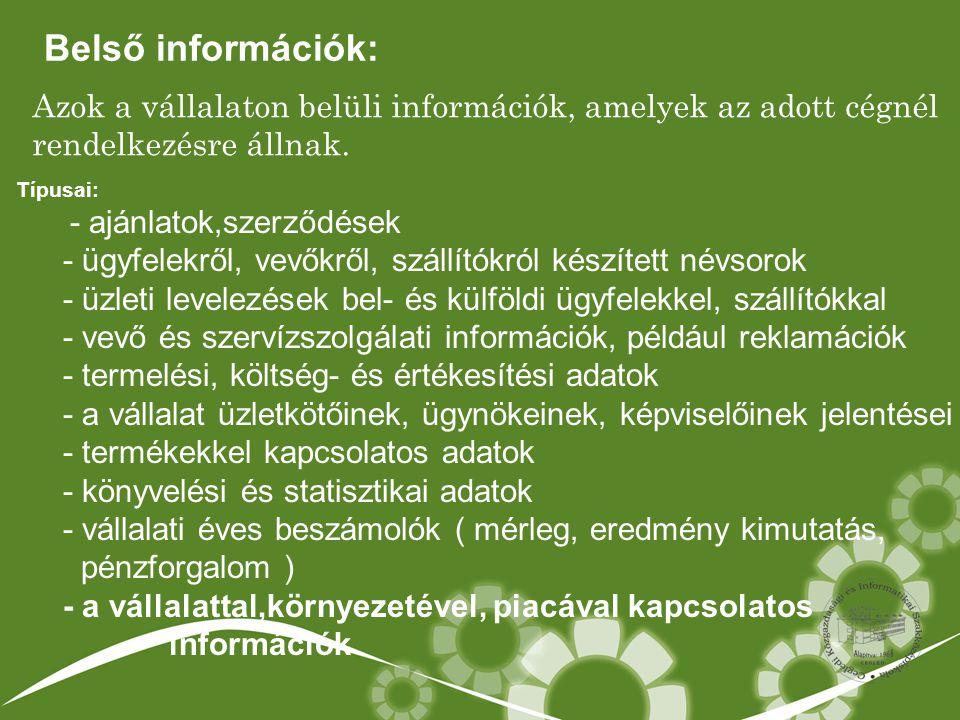 Azok a vállalaton belüli információk, amelyek az adott cégnél rendelkezésre állnak. Típusai: - ajánlatok,szerződések - ügyfelekről, vevőkről, szállító