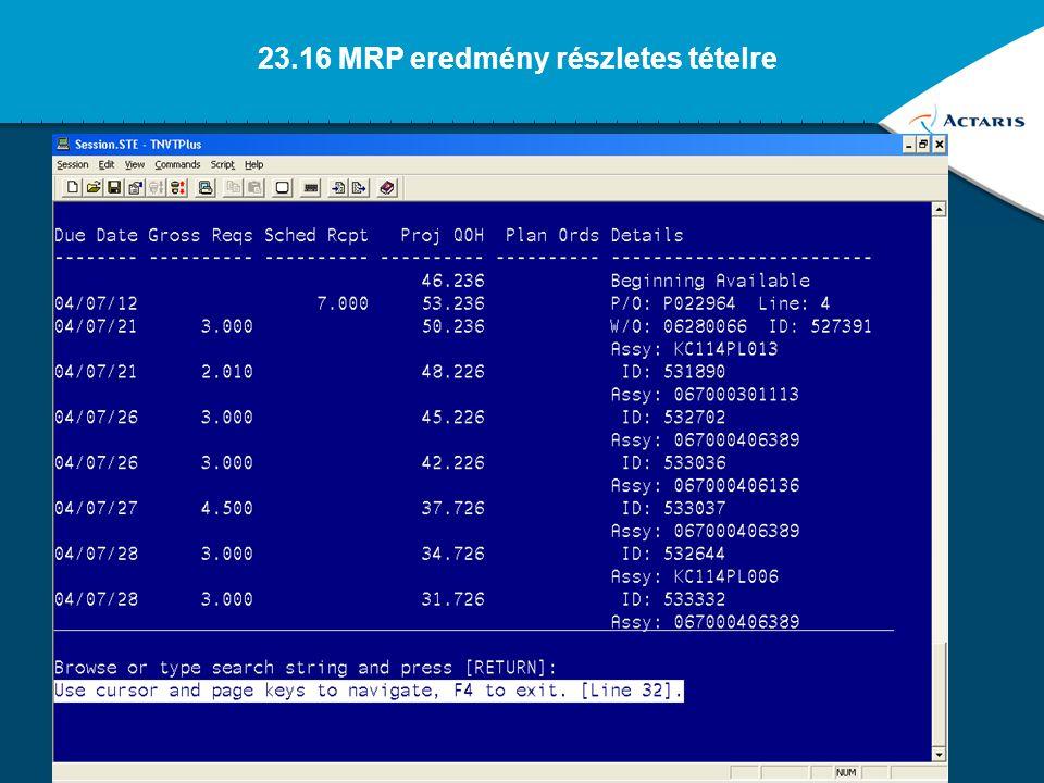 33 23.13 MRP eredmény összefoglaló tételre
