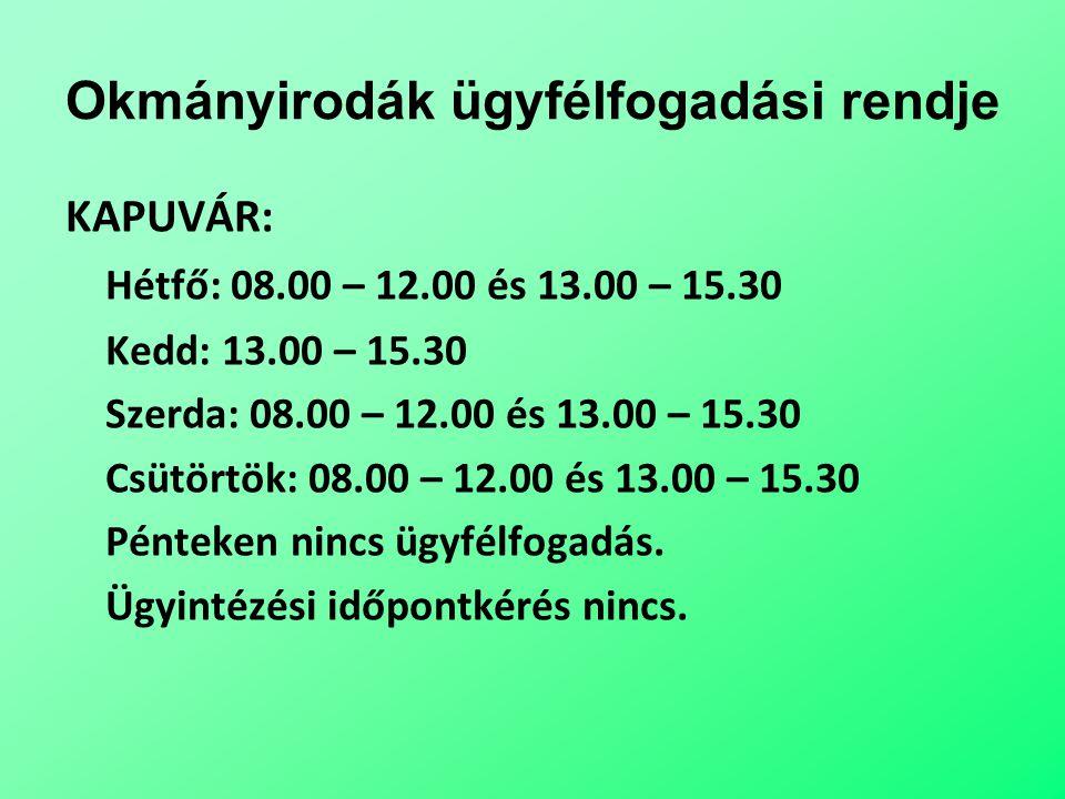 Okmányirodák ügyfélfogadási rendje KAPUVÁR: Hétfő: 08.00 – 12.00 és 13.00 – 15.30 Kedd: 13.00 – 15.30 Szerda: 08.00 – 12.00 és 13.00 – 15.30 Csütörtök