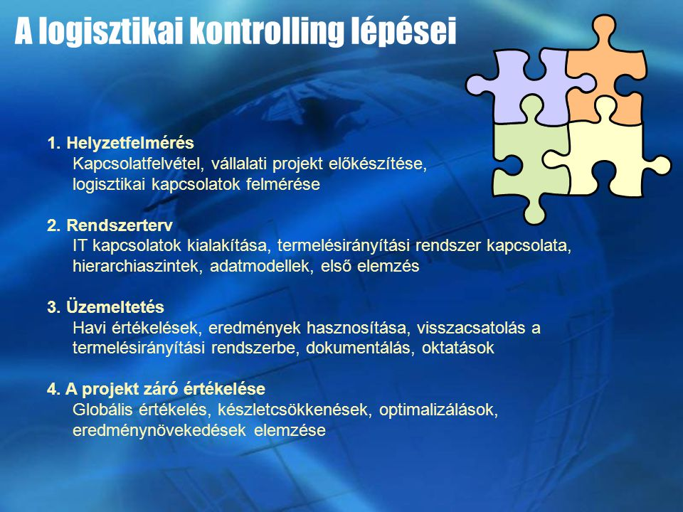 1. Helyzetfelmérés Kapcsolatfelvétel, vállalati projekt előkészítése, logisztikai kapcsolatok felmérése 2. Rendszerterv IT kapcsolatok kialakítása, te