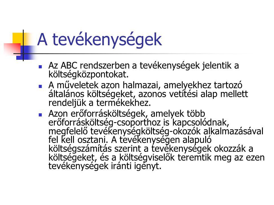 A tevékenységek Az ABC rendszerben a tevékenységek jelentik a költségközpontokat. A műveletek azon halmazai, amelyekhez tartozó általános költségeket,