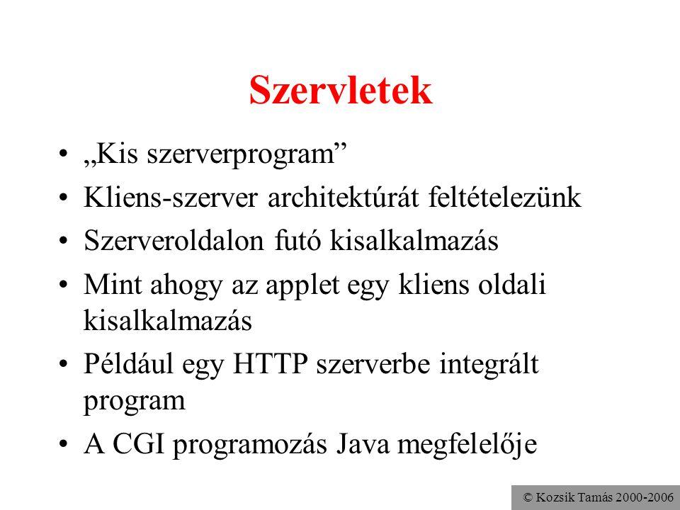 """© Kozsik Tamás 2000-2006 Szervletek """"Kis szerverprogram Kliens-szerver architektúrát feltételezünk Szerveroldalon futó kisalkalmazás Mint ahogy az applet egy kliens oldali kisalkalmazás Például egy HTTP szerverbe integrált program A CGI programozás Java megfelelője"""