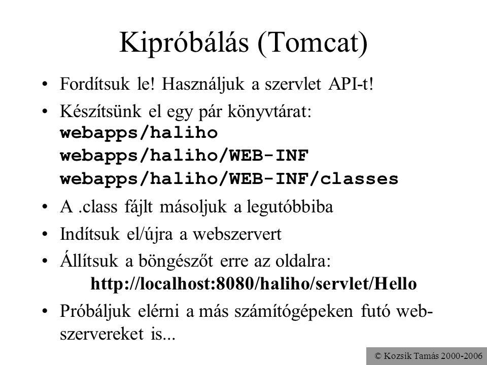 © Kozsik Tamás 2000-2006 Kipróbálás (Tomcat) Fordítsuk le.
