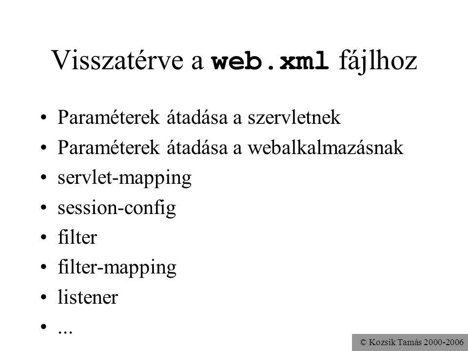 © Kozsik Tamás 2000-2006 Visszatérve a web.xml fájlhoz Paraméterek átadása a szervletnek Paraméterek átadása a webalkalmazásnak servlet-mapping session-config filter filter-mapping listener...