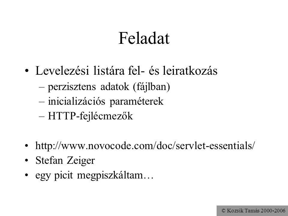 © Kozsik Tamás 2000-2006 Feladat Levelezési listára fel- és leiratkozás –perzisztens adatok (fájlban) –inicializációs paraméterek –HTTP-fejlécmezők http://www.novocode.com/doc/servlet-essentials/ Stefan Zeiger egy picit megpiszkáltam…