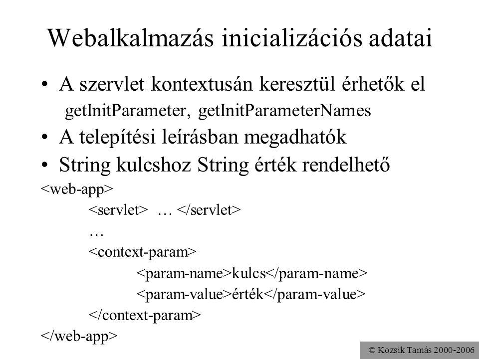 © Kozsik Tamás 2000-2006 Webalkalmazás inicializációs adatai A szervlet kontextusán keresztül érhetők el getInitParameter, getInitParameterNames A telepítési leírásban megadhatók String kulcshoz String érték rendelhető … kulcs érték