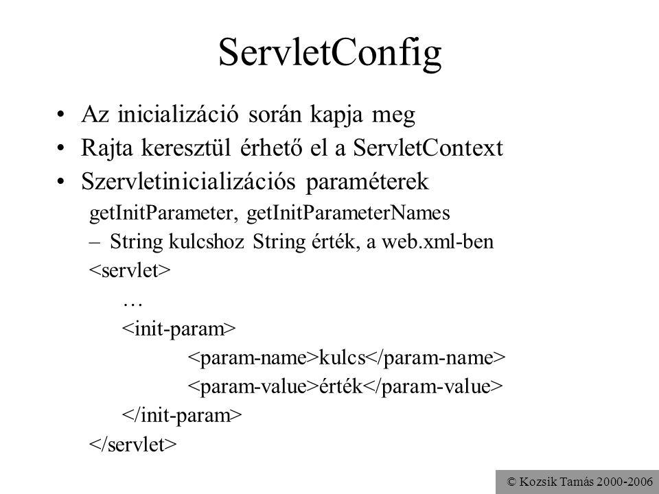 © Kozsik Tamás 2000-2006 ServletConfig Az inicializáció során kapja meg Rajta keresztül érhető el a ServletContext Szervletinicializációs paraméterek getInitParameter, getInitParameterNames –String kulcshoz String érték, a web.xml-ben … kulcs érték