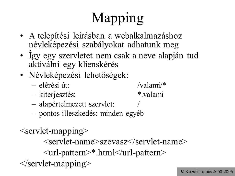 © Kozsik Tamás 2000-2006 Mapping A telepítési leírásban a webalkalmazáshoz névleképezési szabályokat adhatunk meg Így egy szervletet nem csak a neve alapján tud aktiválni egy klienskérés Névleképezési lehetőségek: –elérési út: /valami/* –kiterjesztés: *.valami –alapértelmezett szervlet: / –pontos illeszkedés: minden egyéb szevasz *.html