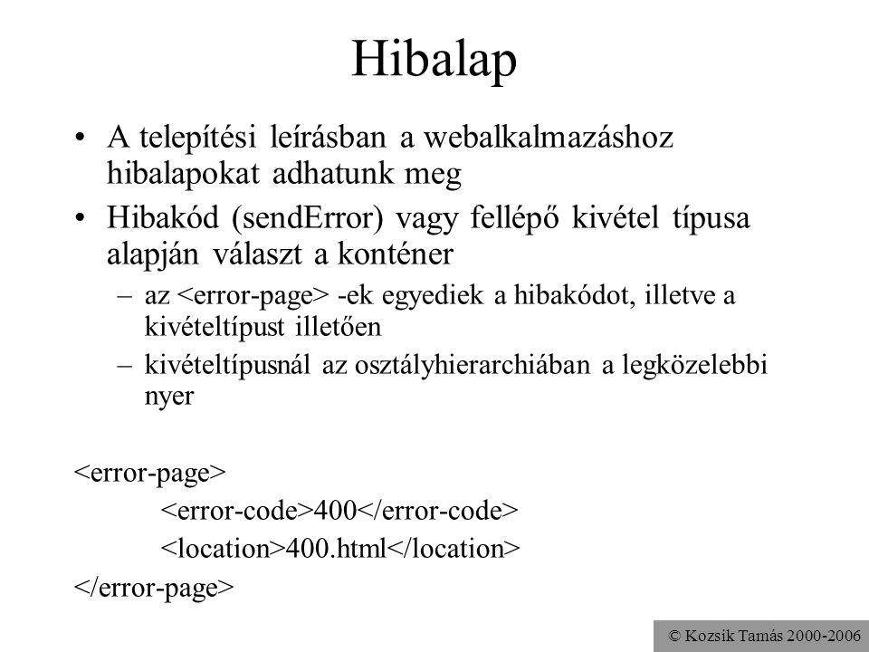 © Kozsik Tamás 2000-2006 Hibalap A telepítési leírásban a webalkalmazáshoz hibalapokat adhatunk meg Hibakód (sendError) vagy fellépő kivétel típusa alapján választ a konténer –az -ek egyediek a hibakódot, illetve a kivételtípust illetően –kivételtípusnál az osztályhierarchiában a legközelebbi nyer 400 400.html