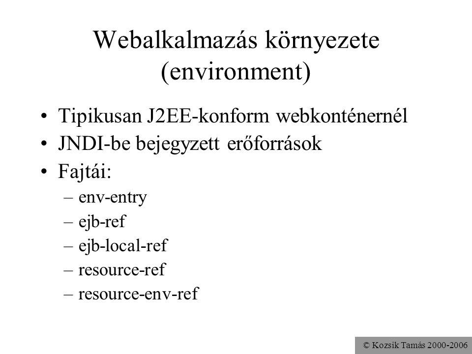 © Kozsik Tamás 2000-2006 Webalkalmazás környezete (environment) Tipikusan J2EE-konform webkonténernél JNDI-be bejegyzett erőforrások Fajtái: –env-entry –ejb-ref –ejb-local-ref –resource-ref –resource-env-ref