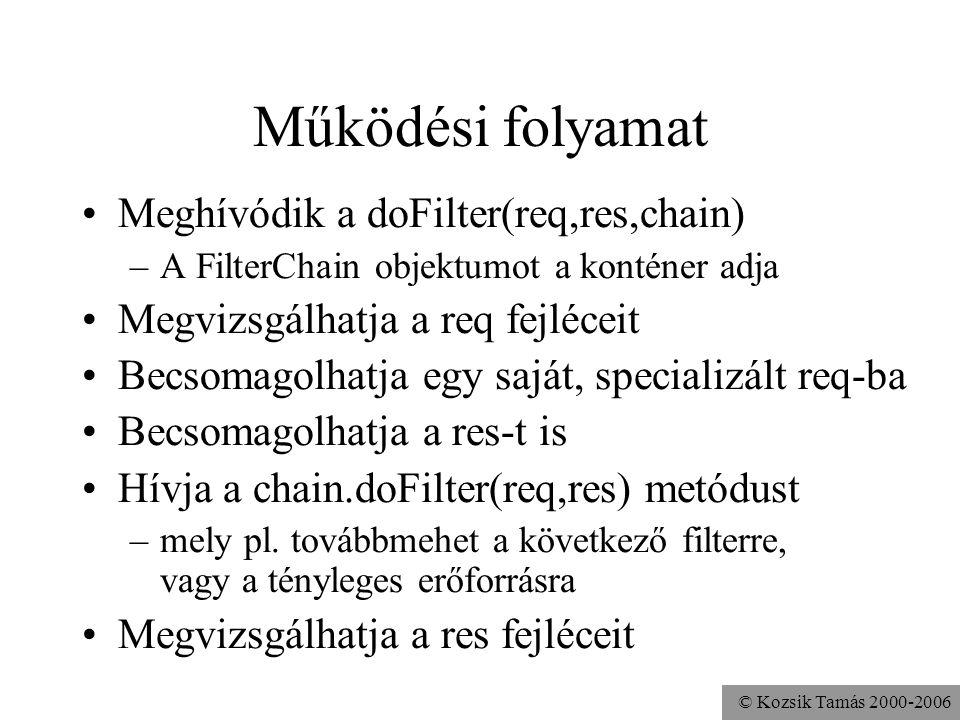 © Kozsik Tamás 2000-2006 Működési folyamat Meghívódik a doFilter(req,res,chain) –A FilterChain objektumot a konténer adja Megvizsgálhatja a req fejléceit Becsomagolhatja egy saját, specializált req-ba Becsomagolhatja a res-t is Hívja a chain.doFilter(req,res) metódust –mely pl.