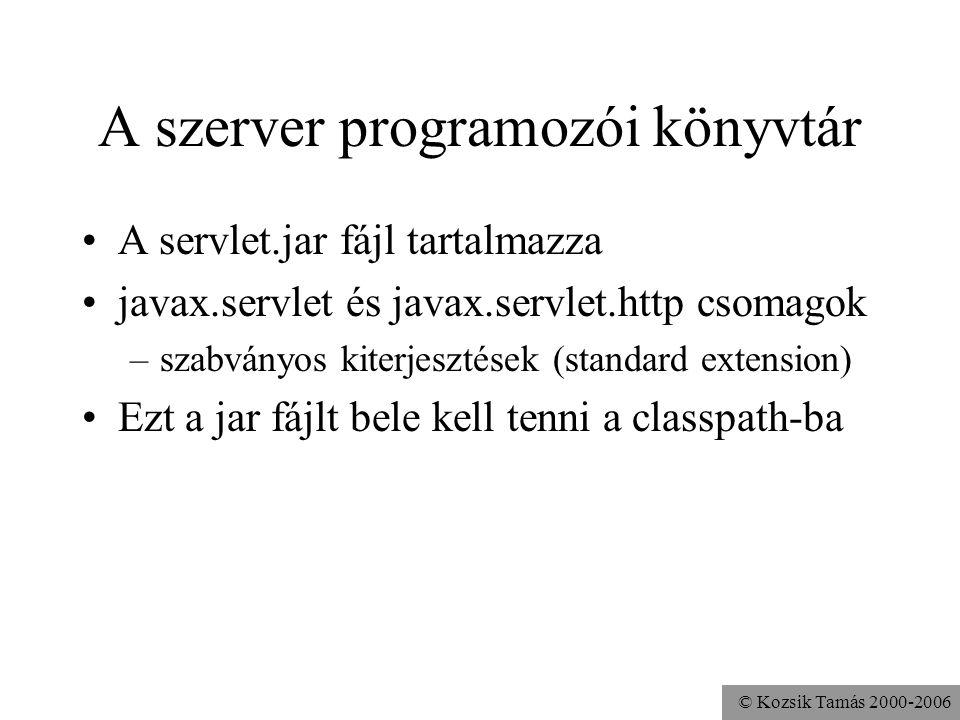 © Kozsik Tamás 2000-2006 A szerver programozói könyvtár A servlet.jar fájl tartalmazza javax.servlet és javax.servlet.http csomagok –szabványos kiterjesztések (standard extension) Ezt a jar fájlt bele kell tenni a classpath-ba