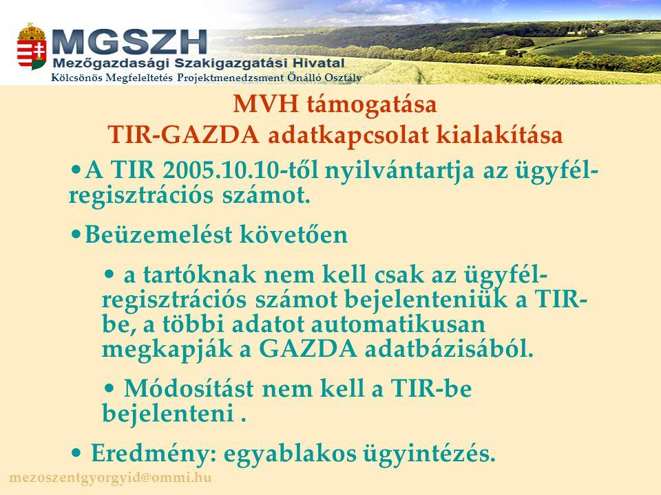 mezoszentgyorgyid@ommi.hu Kölcsönös Megfeleltetés Projektmenedzsment Önálló Osztály MVH támogatása TIR-GAZDA adatkapcsolat kialakítása A TIR 2005.10.10-től nyilvántartja az ügyfél- regisztrációs számot.