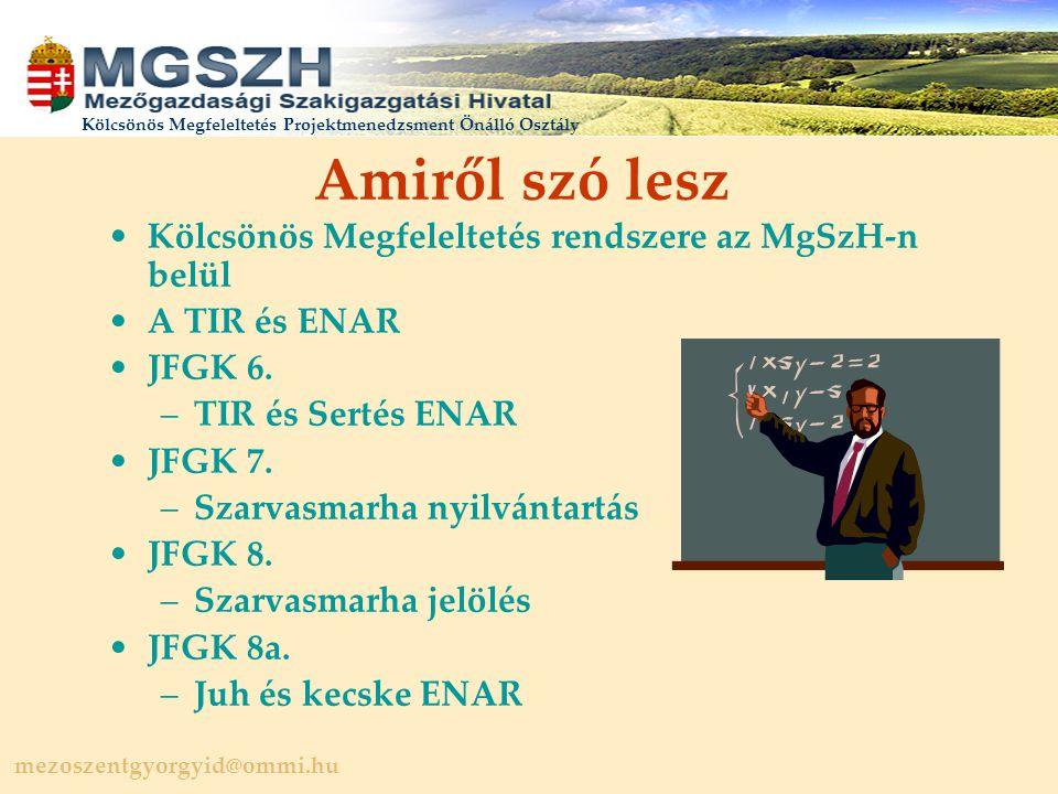 mezoszentgyorgyid@ommi.hu Kölcsönös Megfeleltetés Projektmenedzsment Önálló Osztály Amiről szó lesz Kölcsönös Megfeleltetés rendszere az MgSzH-n belül A TIR és ENAR JFGK 6.
