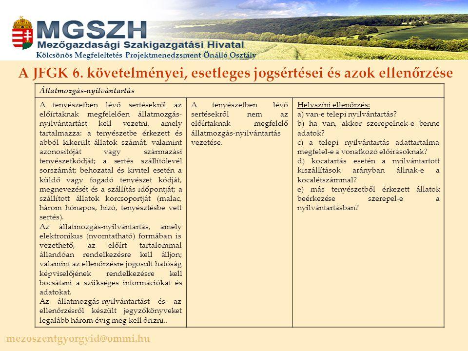 mezoszentgyorgyid@ommi.hu Kölcsönös Megfeleltetés Projektmenedzsment Önálló Osztály A JFGK 6.