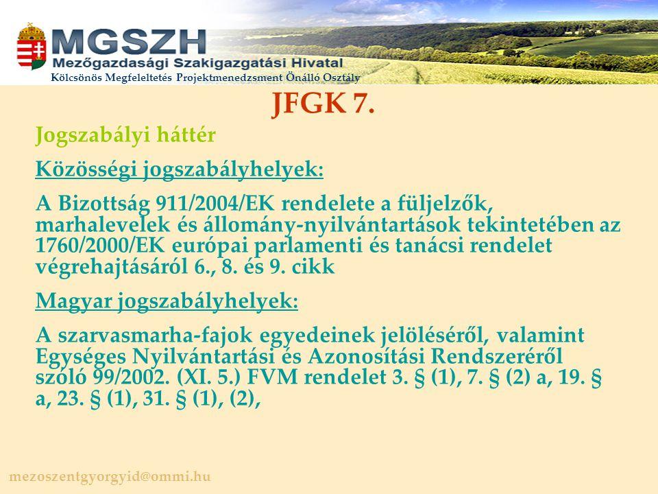mezoszentgyorgyid@ommi.hu Kölcsönös Megfeleltetés Projektmenedzsment Önálló Osztály JFGK 7.