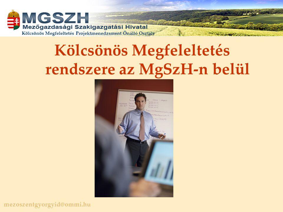 mezoszentgyorgyid@ommi.hu Kölcsönös Megfeleltetés Projektmenedzsment Önálló Osztály Kölcsönös Megfeleltetés rendszere az MgSzH-n belül