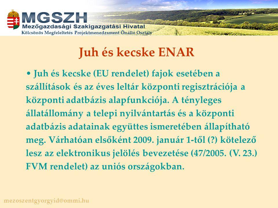 mezoszentgyorgyid@ommi.hu Kölcsönös Megfeleltetés Projektmenedzsment Önálló Osztály Juh és kecske ENAR Juh és kecske (EU rendelet) fajok esetében a szállítások és az éves leltár központi regisztrációja a központi adatbázis alapfunkciója.