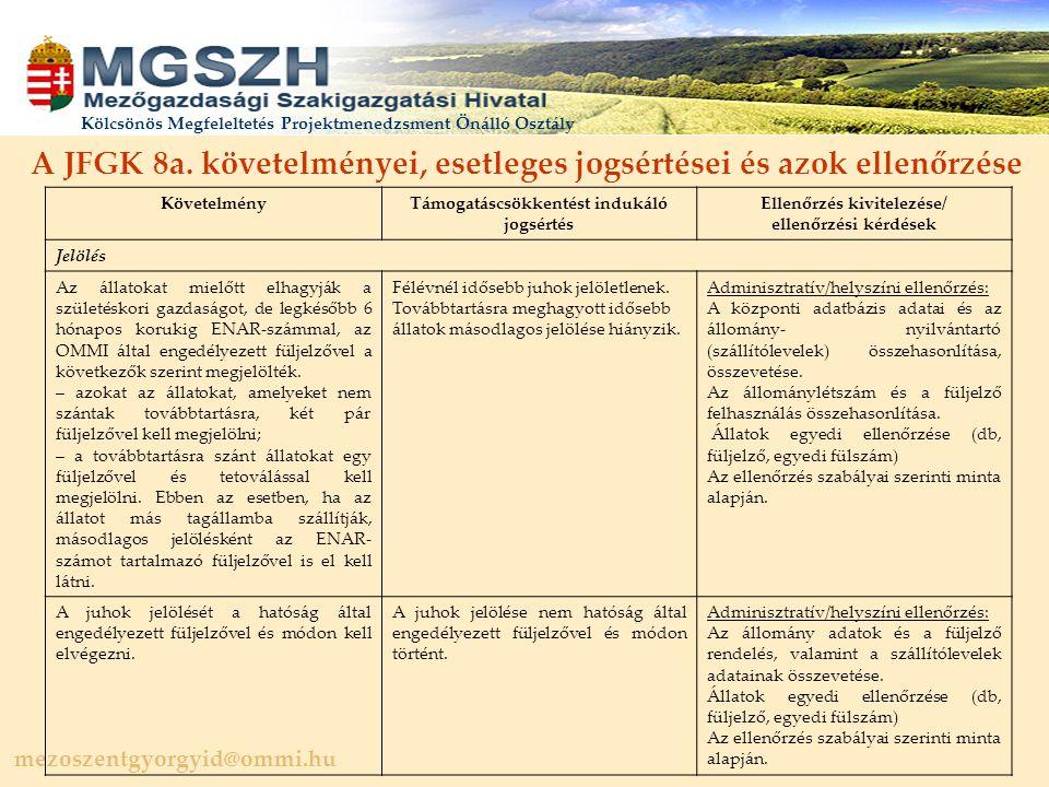 mezoszentgyorgyid@ommi.hu Kölcsönös Megfeleltetés Projektmenedzsment Önálló Osztály A JFGK 8a.