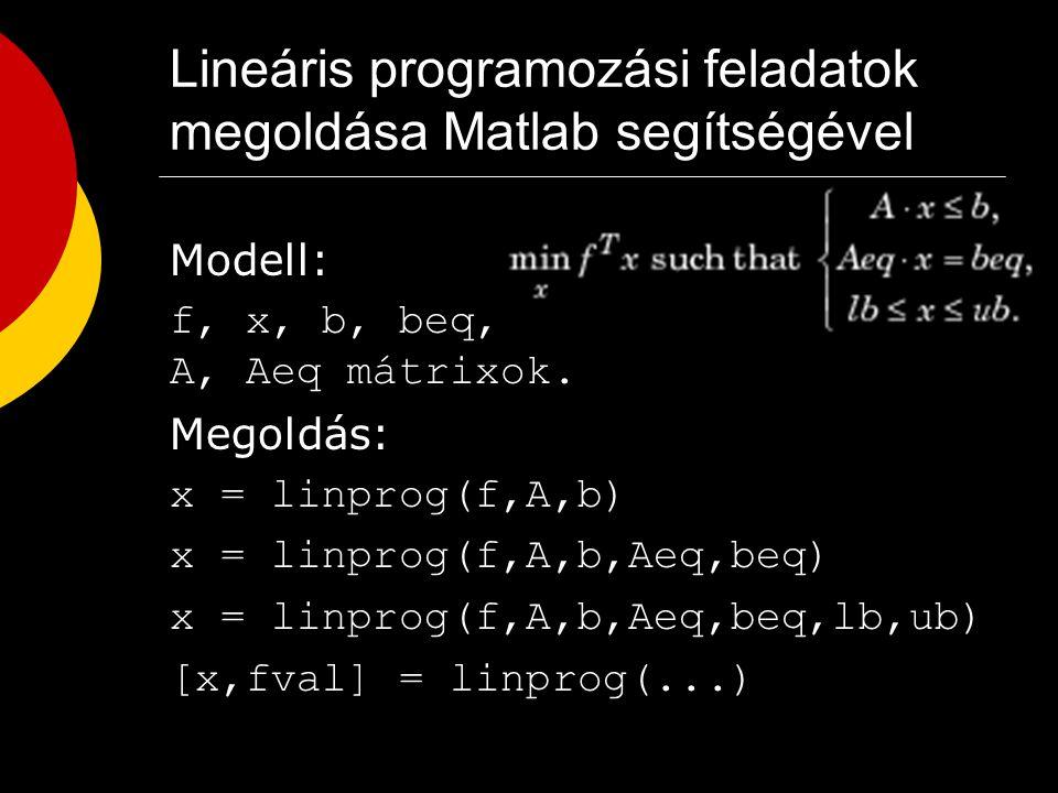 Lineáris programozás 1. Egy gyár bizonyos időszakra szóló termelési feladatának meghatározása Matematikai alapmodell értelmezése : ja terméktípus azon